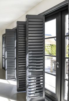 Home Interior Salas 33 Classy Shutters Design Ideas That Will Amaze You Patio Door Shutters, House Shutters, Black Shutters, Interior Shutters, Wood Shutters, Window Shutters, Sliding Door Shutters, Shutter Designs, Shutter Doors