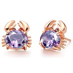 delatcha Amethyst Stud Earrings with Red Blue Purple Stones Rose Gold Plated Earings Pendientes for Women Crystal Jewellery Ulove R695 -- See this great product. Note:It is Affiliate Link to Amazon.