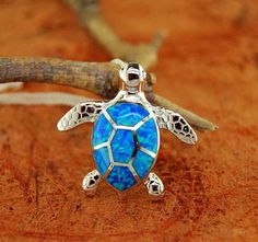 Opal Honu Plumeria Turtle Pendant and 18 Chain - 100% Sterling Silver - Gift Idea - Anniversary Gift - Hawaiian Theme  Metal: .925 sterling silver