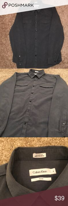 Calvin Klein long sleeve shirt Slim fit Medium  Gray Calvin Klein Shirts Dress Shirts