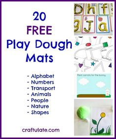 20 Free Printable Play Dough Mats on Craftulate: Alphabet, Numbers, Transportation, Animals, People, Nature & Shapes! playdough