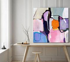 A contemporary abstract painting print of powder pink and grey enhanced by the vibrancy of mandarin and violet to lift and energise your space by Sarina Diakos. Abstract Canvas Art, Pink Abstract, Abstract Print, Abstract Art Paintings, Picasso Paintings, Contemporary Abstract Art, Modern Contemporary, Hanging Art, Painting Prints