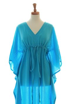 make .... Kaftan Maxi Dress - Beach Cover Up - Caftan - Muumuu - Turquoise