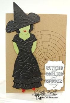 www.PattyStamps.com - Wicked Witch punch art with Stampin' Up! Dress Up framelits