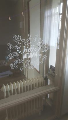 Window drawing with chalk marker. Fall Drawings, Window Markers, Chalk Writing, Window Mural, Autumn Illustration, Chalkboard Art, Window Design, Autumn Theme, Home Crafts