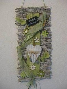 Türkranz Kranz Frühling 45 cm Shabby Willkommen Rebenmatte Türdeko grün grau