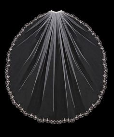 Delicate Flower Vine Embroidered Bridal Veil