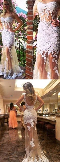 Generous Prom Dress/Evening Dress Champagne Tulle Backless with White Lace Appliques