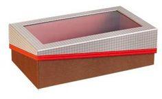 Coffret rectangle carton avec fenêtre PVC décor vichy/effet cuir/rouge 31.5 x 18 x 10 cm