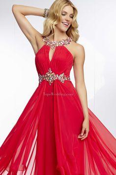 Anello Stile impero Senza Maniche Chiffon Rosso Perline Backless / aperto indietro Vestiti per laurea