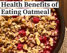 You may have heard oatmeal is good for you, but did you know how good? Here are six great reasons to eat more oats!Healthy DigestionThere are two types of fiber in oats. Oat Crumble Topping, Vegan Crumble, Fruit Crumble, Healthy Vegan Desserts, Healthy Eating, Healthy Tips, Clean Eating, The Oatmeal, Easy Summer Desserts