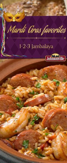 Celebrating Mardi Gras is easy with this Jambalaya recipe! It's also ready in 30 minutes or less. Celebrating Mardi Gras is easy with this Jambalaya recipe! It's also ready in 30 minutes or less. Cajun Recipes, Seafood Recipes, Haitian Recipes, Creole Recipes, Donut Recipes, Sausage Recipes, Cooker Recipes, Crockpot Recipes, One Pot Meals