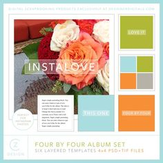 Four by Four Album Set - Digital Scrapbooking Templates DesignerDigitals for doing something cool with your Instagram images.