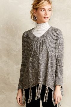 Cabled Poncho Sweater - anthropologie.com