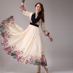 Floral White Sleeved Maxi  |  Love the Kimono-like top!  |  2014 summer fashion women's long chiffon dress sweet bohemia long dress maxi long sleeve chiffon dress floor length a line dress-inDresses f... | Inspiration for Hijab Fashion