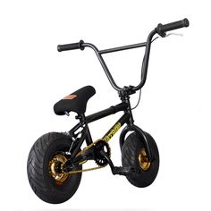 Price: (as of – Details) FatBoy Mini BMX Bicycle Assault, Black/Gold Limited edition new color of hot fat boy mini BMX bikes fat boy wanted to create something different and rugged so they be… Bmx Bikes For Sale, Cycling Bikes, Cool Bikes, Bmx Pro, Bmx Frames, Black Thunder, Bmx Bicycle, Schwinn Bikes, Cool Bike Accessories