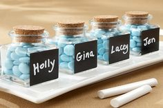 These ready to fill and name chalkboard, glass and cork jars are practical, reusable & personal. Source: WeddingRusticFavors   #favorjars #diy
