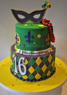 mardi gras cakes | Mardi Gras Sweet 16 Cake