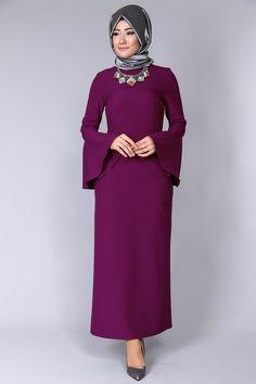 Kolları Volanlı Kolyeli Elbise BRB4207 Şarabi - ModaSelvim
