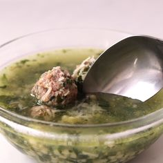 Easy and delicious Italian wedding soup. The meatballs cook right in the broth, which infuses it with tons of flavor. Made with spinach and pasta - it's the perfect one pot meal. Beef And Pork Meatballs, Tasty Meatballs, How To Cook Meatballs, Mini Meatballs, Italian Soup Recipes, Italian Wedding Soup Recipe, Best Soup Recipes, Yummy Recipes, Favorite Recipes