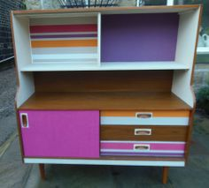 Vintage/retro 1970's Schreiber cabinet, sideboard, upcycled, bright pink,purple