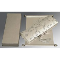 Give your wedding a special feel with our exclusive Metallic-Gold-Silver-Copper, Handmade Shimmer Paper, Scroll Wedding Cards - SC-5007H