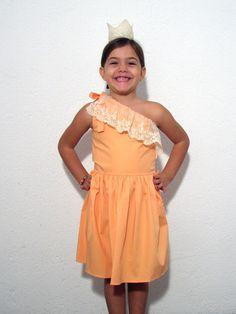 One shoulder coral dress -Marquicheri