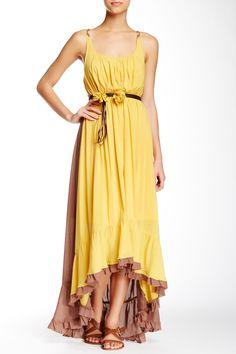 RYU | Faux Leather Belted Hi-Lo Maxi Dress | HauteLook