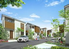 植栽の緑豊かな戸建住宅の街並みを描いた外観パース