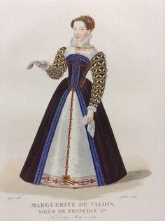 Lithographie MARGUERITE DE VALOIS soeur Francois Ier Renaissance Costume ls 403