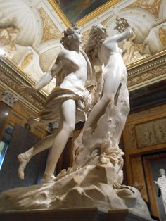 In this statue, the movement and the change of human to tree is so clear, that is has become 'astonishing' according to Bob. The contrast of the rough tree bark against the smooth legs of Daphne is done amazing. Bernini was only 24 when he started this masterpiece.