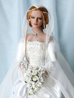 Brides - Dorinne * by fannie Barbie Bridal, Barbie Wedding Dress, Wedding Doll, Barbie Dress, Barbie Clothes, Bridal Dresses, Barbie Doll, Pretty Dolls, Beautiful Dolls