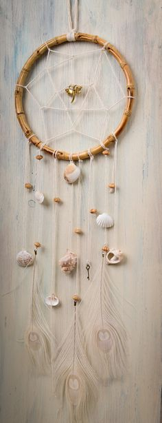 Bamboo Ring Dream Catcher Shells Whisper // Wall by DziugaDreams