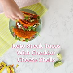 This Keto Steak Taco recipe with cheddar cheese shells is amazing. Get the full recipe here: