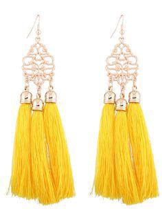 Alloy Engraved Tassel Drop Earrings - Yellow