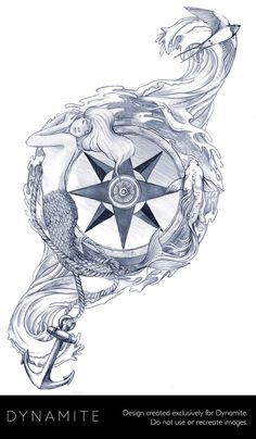 Compass rose with mermaid sea tattoo, ocean tattoos, mermaid tattoos, rose tattoos, Sea Tattoo, Ocean Tattoos, Mermaid Tattoos, Rose Tattoos, Tatoos, Anchor Compass Tattoo, Compass Rose Tattoo, Compass Tattoo Design, Anchor Tattoos