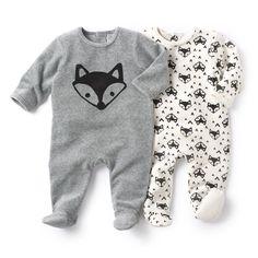 Pyjama à pieds en velours (lot de 2) R essentiel