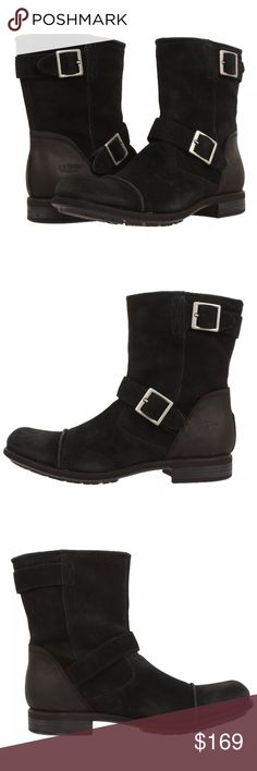 UGG lancing riding boots leather men's 🚫NO TRADES, NO HOLDS, NO LOW OFFERS🚫 USE THE OFFER BUTTON‼️ I WILL NOT RESPOND TO OFFERS IN THE COMMENTS SECTION‼️ Rock the moto-styling of the UGG® Lancing. Vintage-distressed suede. Dual decorative buckles create eye-catching appeal. Soft leather and textile lining wicks away moisture leaving the foot cool and dry with each and every wear. Removable insole for adjustable comfort. Full grain leather heel for added durability. Texturized rubber welt…