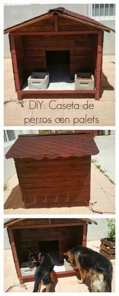 DIY: Cómo hacer una caseta de perros con palets : x4duros.com                                                                                                                                                     Más