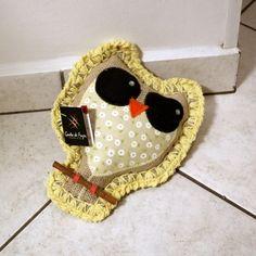 Peso para porta coruja em juta, crochê e tecido