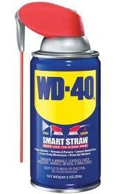 WD-40 -- amazing uses include Stop squeaks (doors, bike chains); Remove and prevent rust (lawn mower blades during off season, cookie tins/sheets); Remove gum, glue, ink and lipstick from fabrics and other items; Lubricate metal parts (zippers, tools, machines); Loosen nuts and screws; Cleaning (shower doors, tools, lime stains in toilet bowls, stovetops, patio furniture); 2000+ more