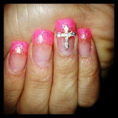 Pink cross glitter nails