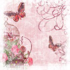 Vintage Pink Butterfly Garden 12x12 Digital Paper