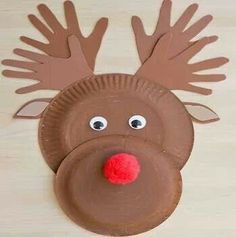 Christmas Paper Plate Reindeer craft (only photo)