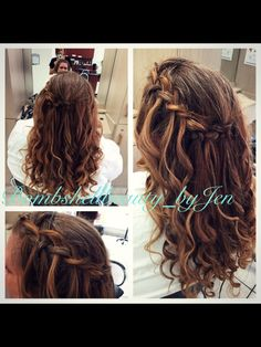 Curled waterfall braid for a bridal updo or prom updo--created by @bombshellbeautybyjen @revivesalonsrq in Sarasota, FL http://www.revivesalonsarasota.com