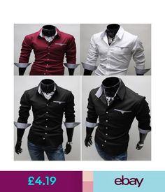 Casual Shirts & Tops Mens Designer Shirts Long Sleeve Tops Formal Shirt Casual Slim Fit Dress Shirts #ebay #Fashion