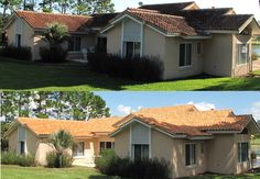 Before and after of a tile roof cleaning in the Clermont Florida area. 407-656-0442  www.washritecleaning.com #roofcleaning #Orlando