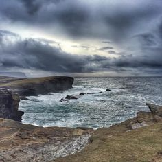 Amazing seas and skies on Orkney with waves breaking up the 30m cliffs at Yesnaby.  The sun was fighting the clouds and eventually won!  #Orkney #visitscotland #instablog #instanaturelover #landscape #landscape_lovers #landscape_capture #sea #seacliff #sky #clouds #cloudporn #cloudstagram #iphoneonly #iphoneography #snapseed #travelblog