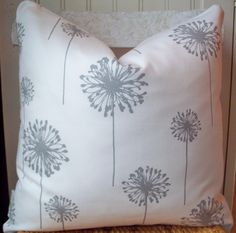 TWO Dandelion Pillow Covers Gray White Throw Pillow