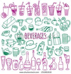 Set Of Various Doodles, Hand Drawn Rough Simple Sketches Of Various Types Of Alcoholic And Non-Alcoholic Drinks. Vector Freehand Illustration Isolated On White Background. Notebook Binder, Bujo Doodles, Line Illustration, Stock Illustrations, Pattern Coloring Pages, Sketch Notes, Journal Pages, Journals, Simple Doodles